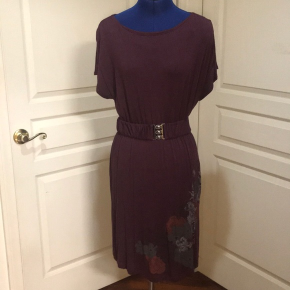 Elle Dresses & Skirts - Elle Purple Midi Dress with Floral Accent Size M